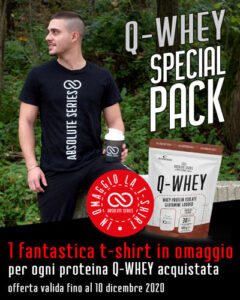 Q-WHEY Special Pack - 1 T-shirt omaggio per ogni proteina Q-WHEY